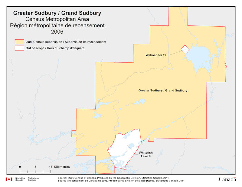 Geographical map of 2006 Census Metropolitan Area of Greater Sudbury