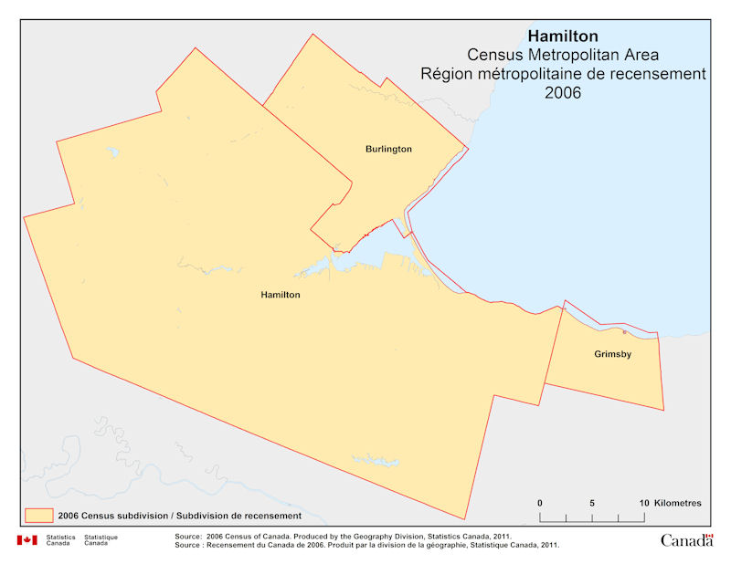 Geographical map of 2006 Census Metropolitan Area of Hamilton Ontario