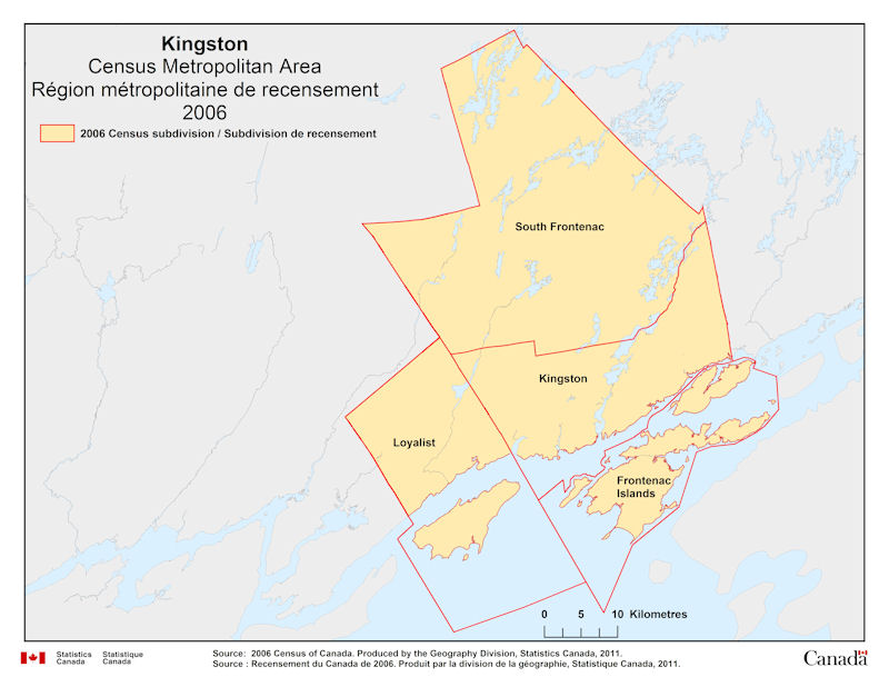 Geographical map of 2006 Census Metropolitan Area of Kingston Ontario