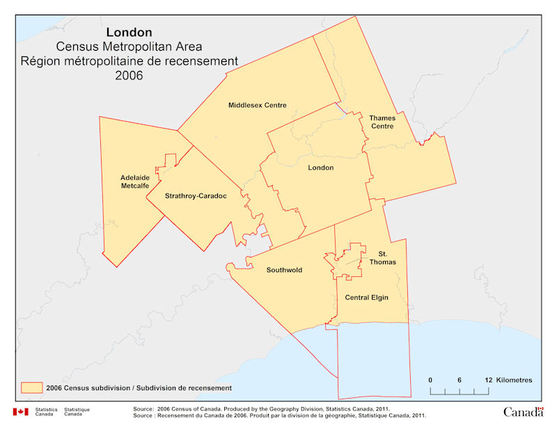 Areas In London Map.Geographical Map Of 2006 Census Metropolitan Area Of London Ontario