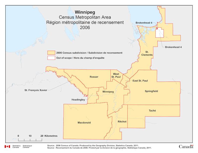 Geographical map of 2006 Census Metropolitan Area of Winnipeg Manitoba
